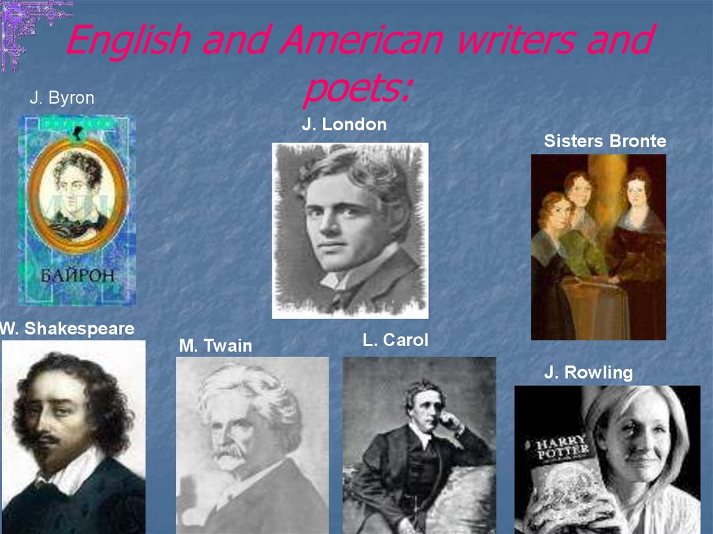 English and American writers and poets: