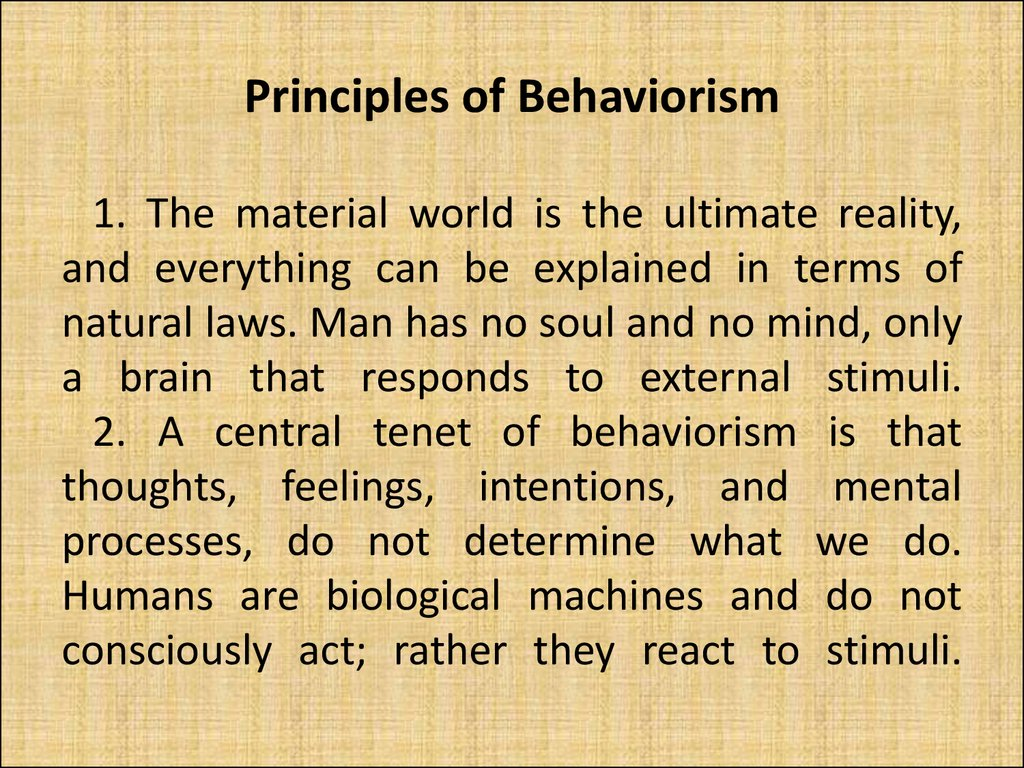 Principles of Behaviorism