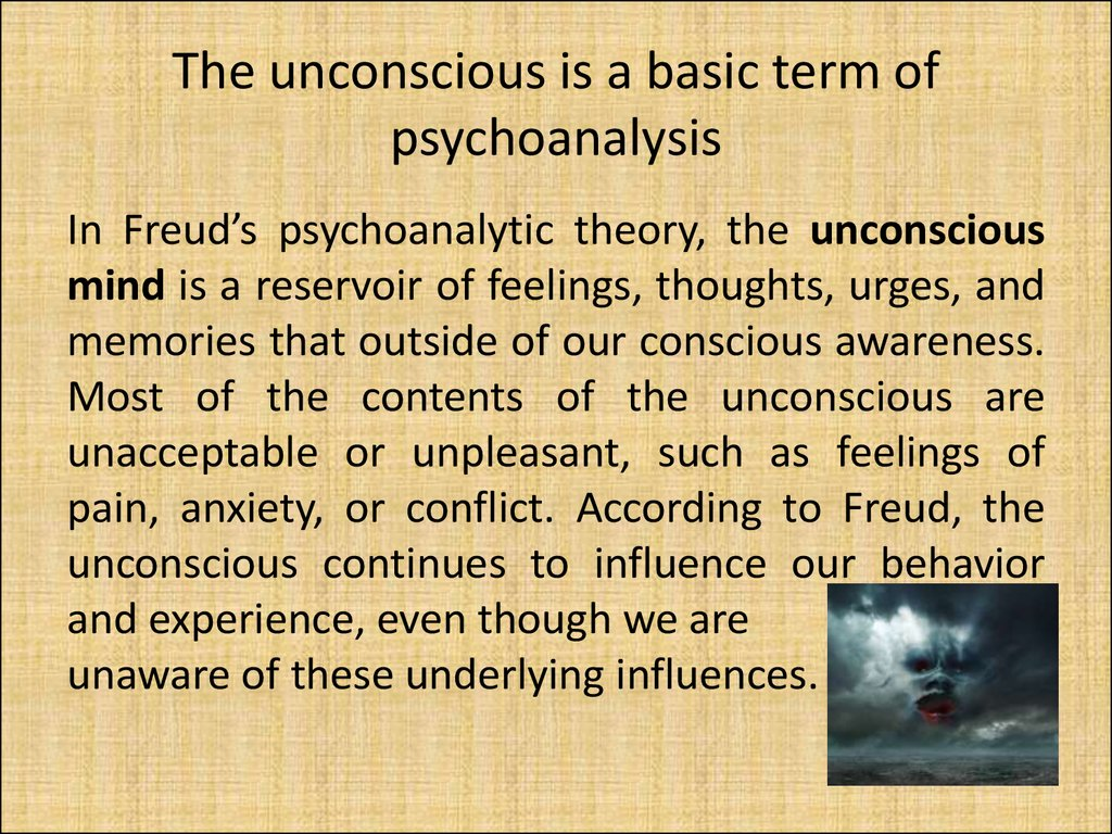 The unconscious is a basic term of psychoanalysis