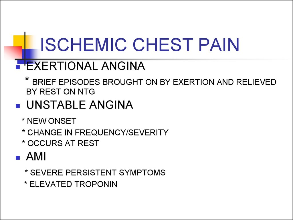 ISCHEMIC CHEST PAIN
