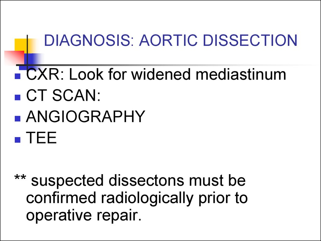 DIAGNOSIS: AORTIC DISSECTION