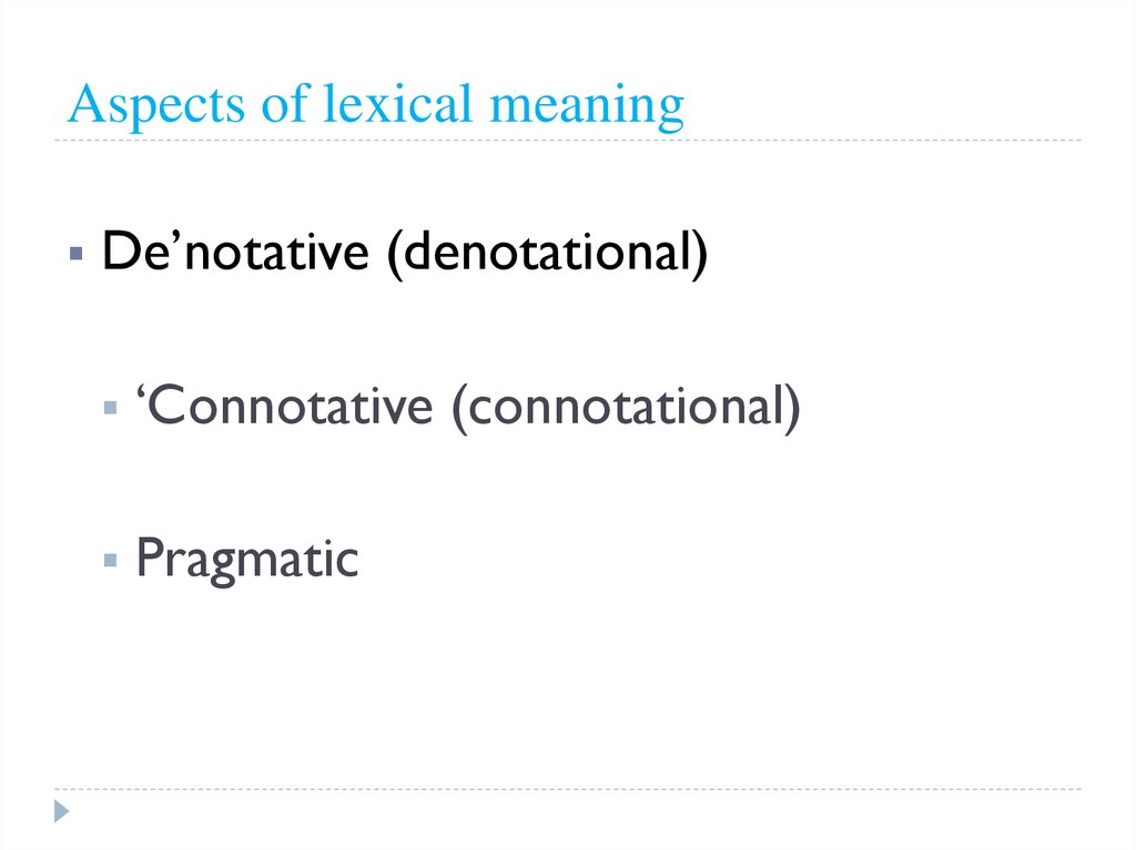 Aspects of lexical meaning
