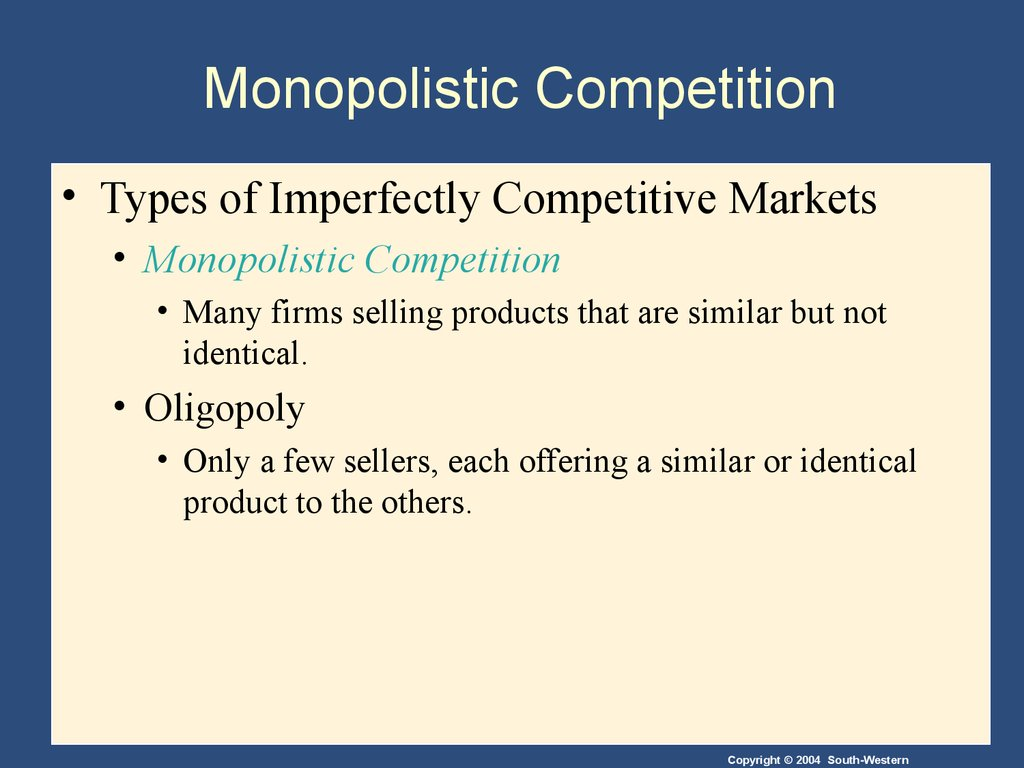 the market structure of oreo is monopolistic competition essay Microeconomics and market structures 7 pages 1731 words june 2015 saved essays save your essays here so you can locate them quickly.