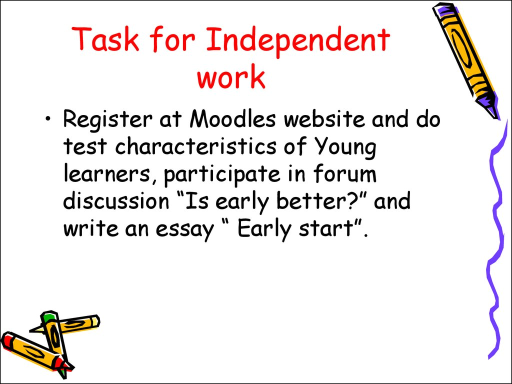 Task for Independent work