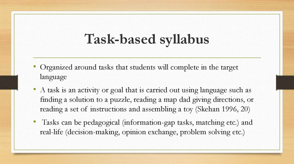 Structural based v s task based syllabus