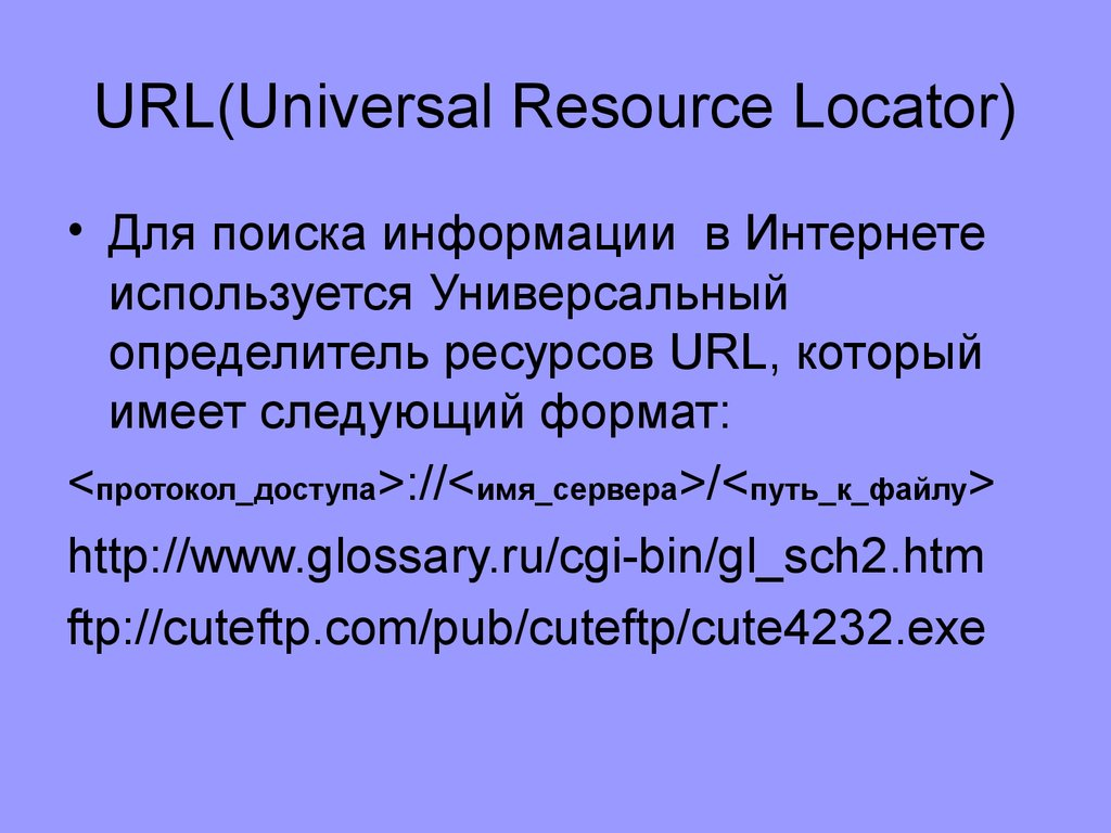 URL(Universal Resource Locator)