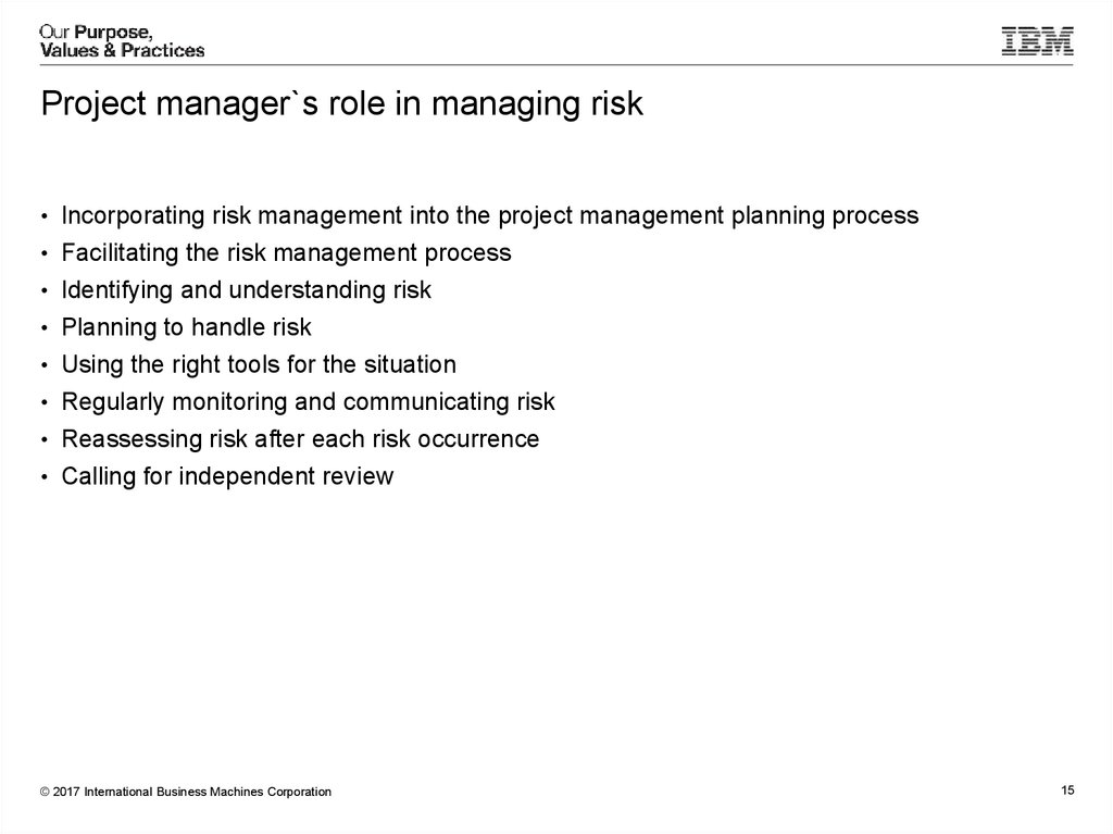 Project manager`s role in managing risk