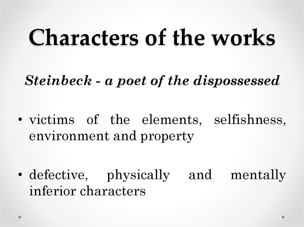 Characters of the works