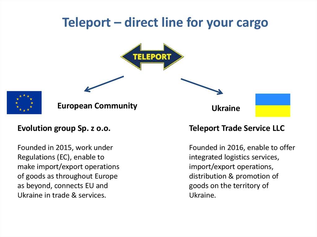 Teleport – direct line for your cargo - online presentation
