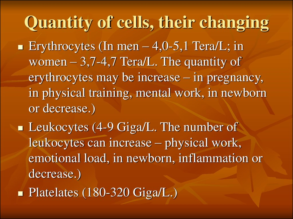 Quantity of cells, their changing