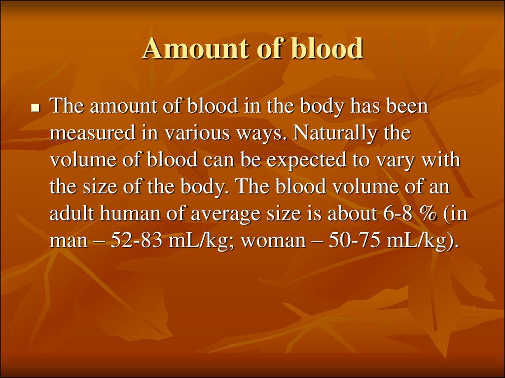 Amount of blood