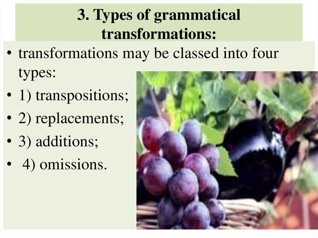 3. Types of grammatical transformations: