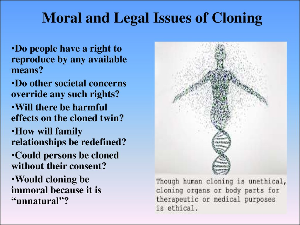 a discussion on the ethical issues of human cloning