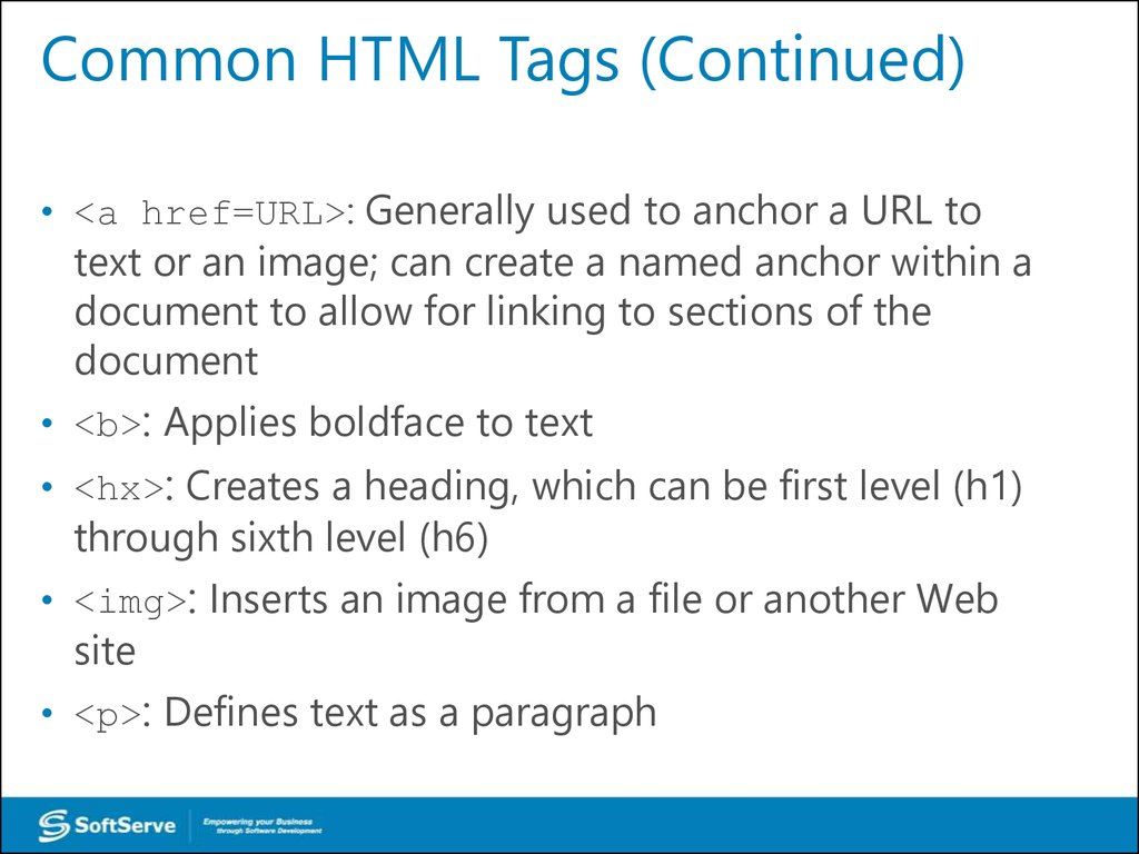 Common HTML Tags (Continued)