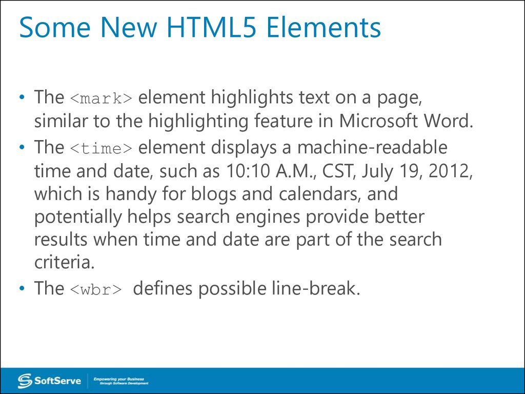 Some New HTML5 Elements