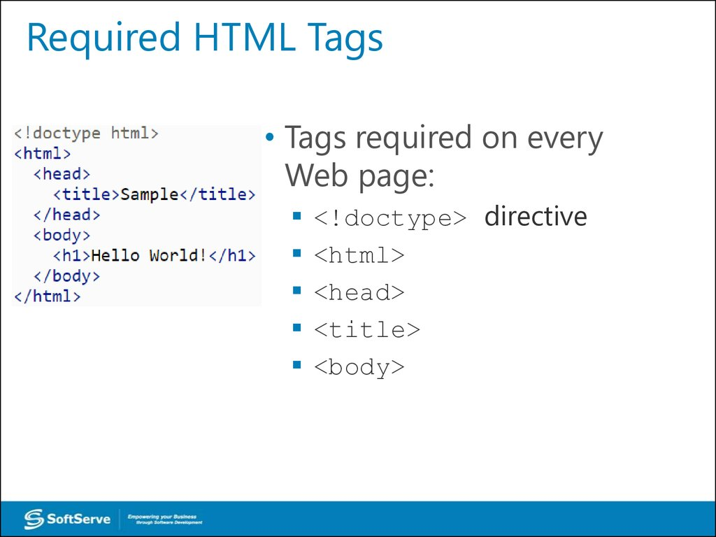 Required HTML Tags
