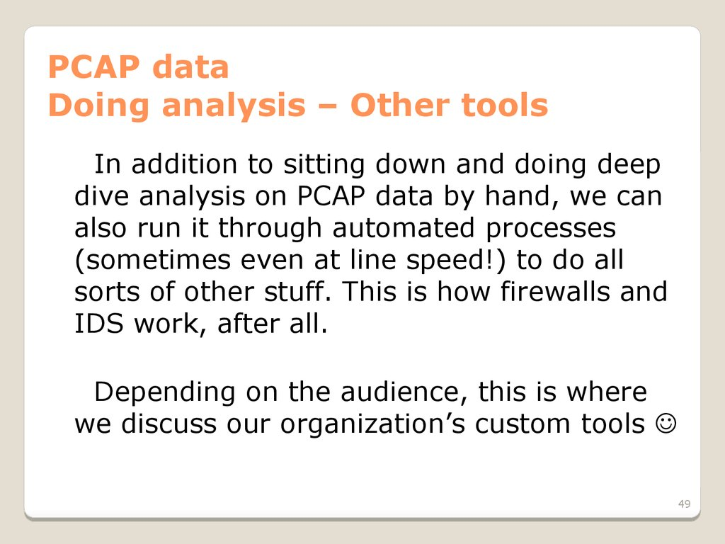 PCAP data Doing analysis – Other tools