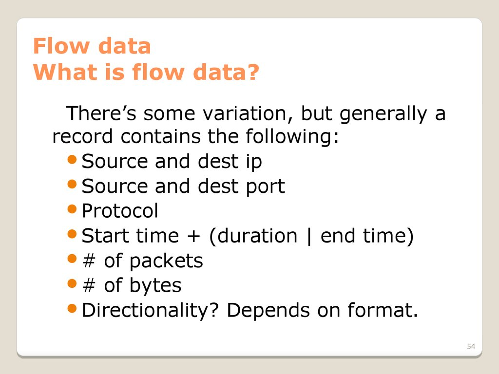 Flow data What is flow data?