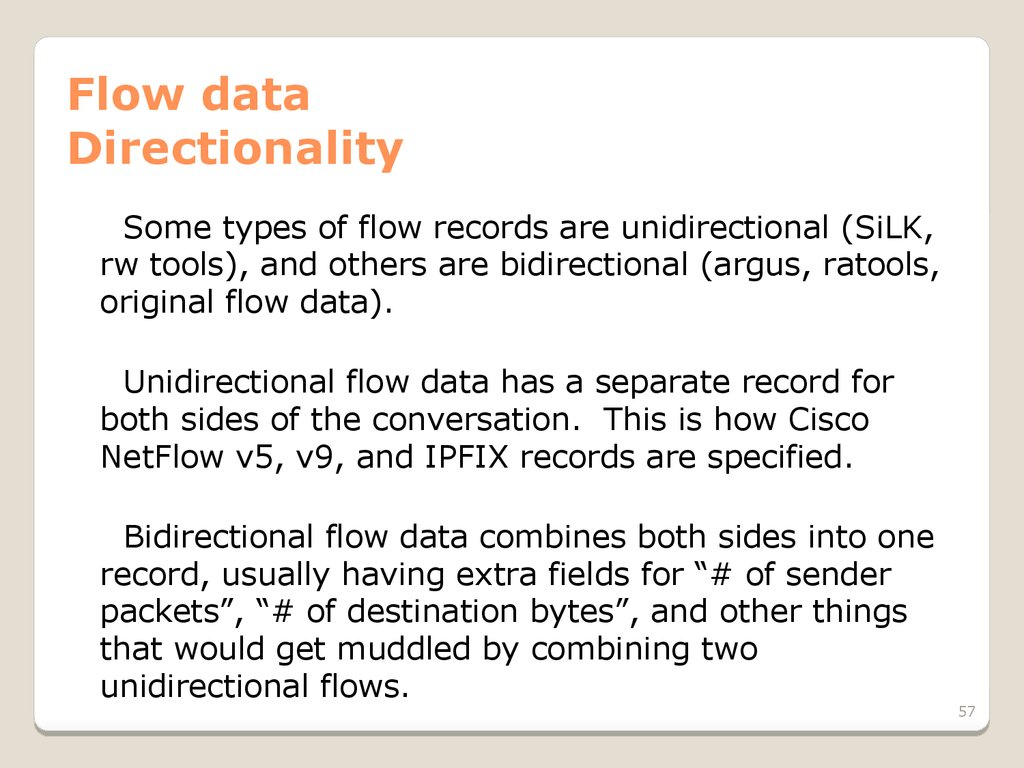Flow data Directionality