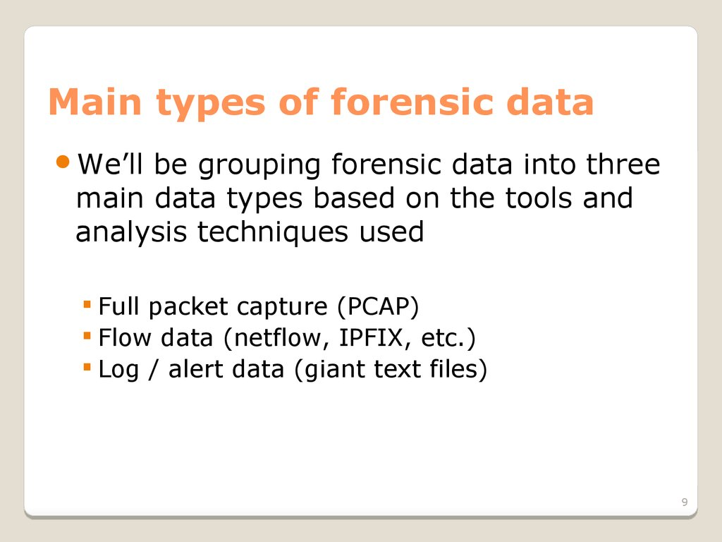Main types of forensic data