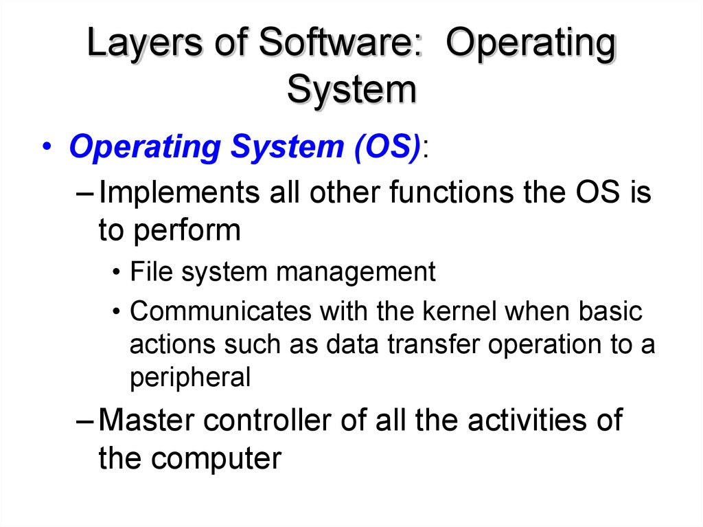 Layers of Software: Operating System