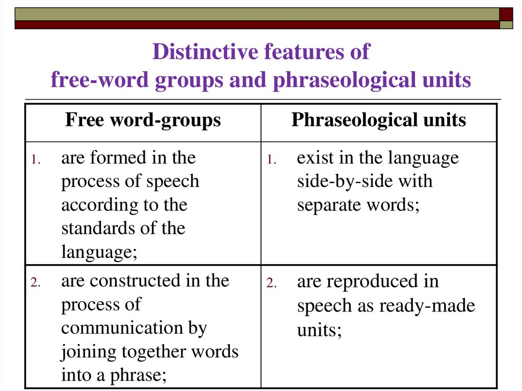 Distinctive features of free-word groups and phraseological units