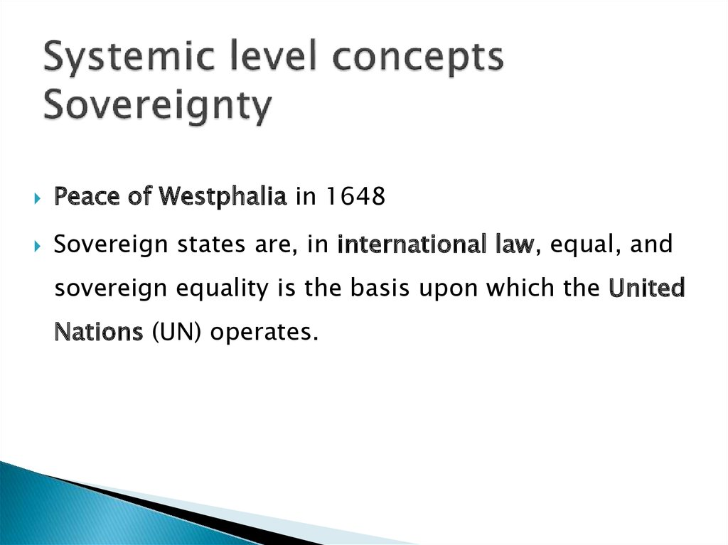 Systemic level concepts Sovereignty
