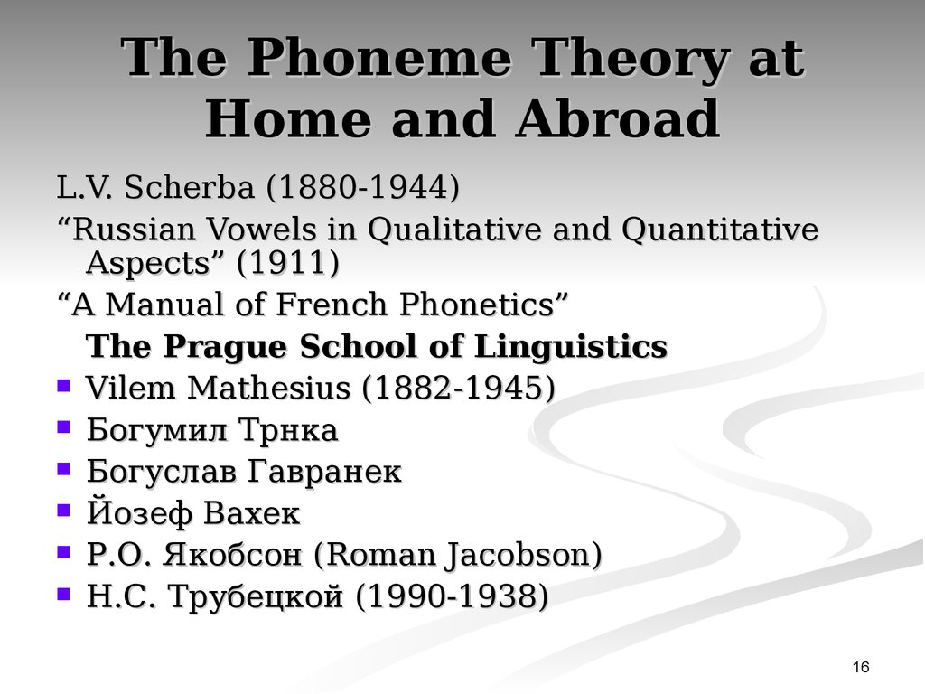 The Phoneme Theory at Home and Abroad
