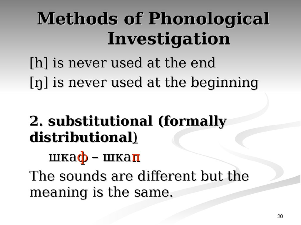 Methods of Phonological Investigation