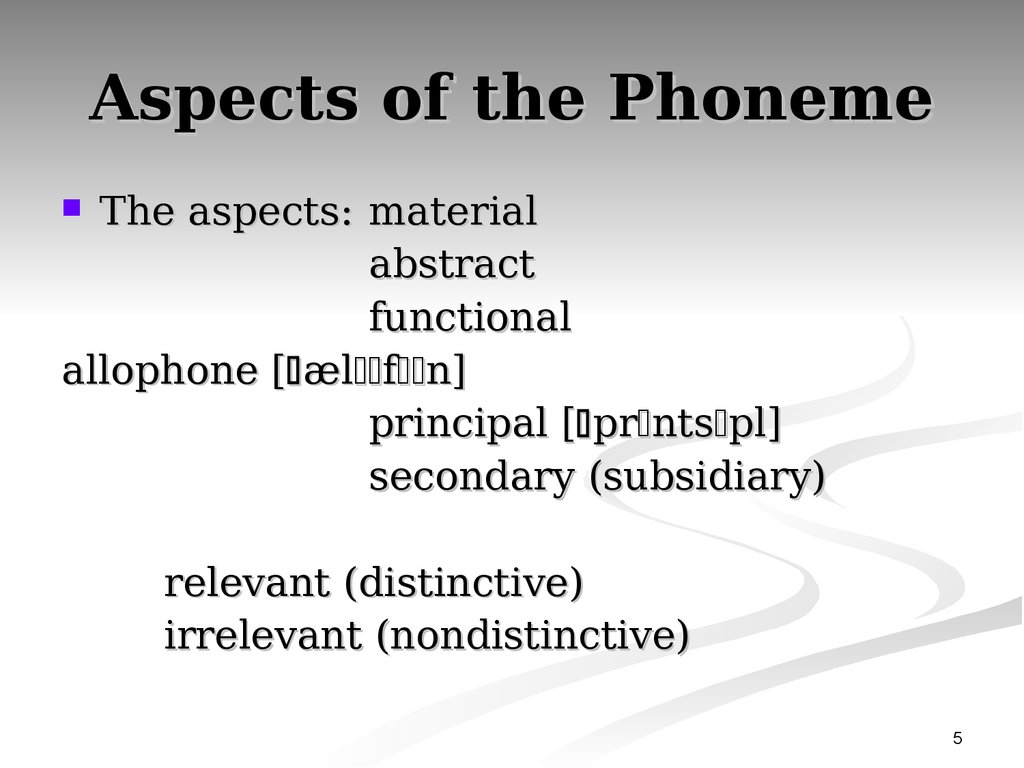 Aspects of the Phoneme
