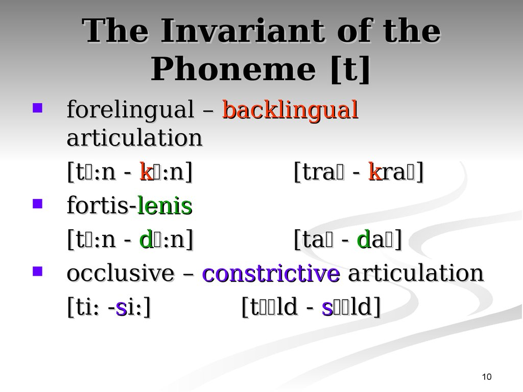 The Invariant of the Phoneme [t]