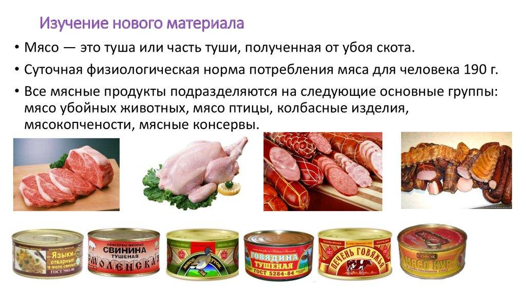 Мясо и мясные продукты доклад 884