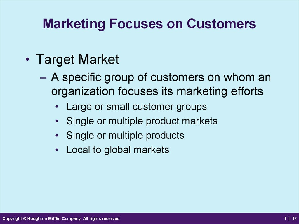 Marketing Focuses on Customers