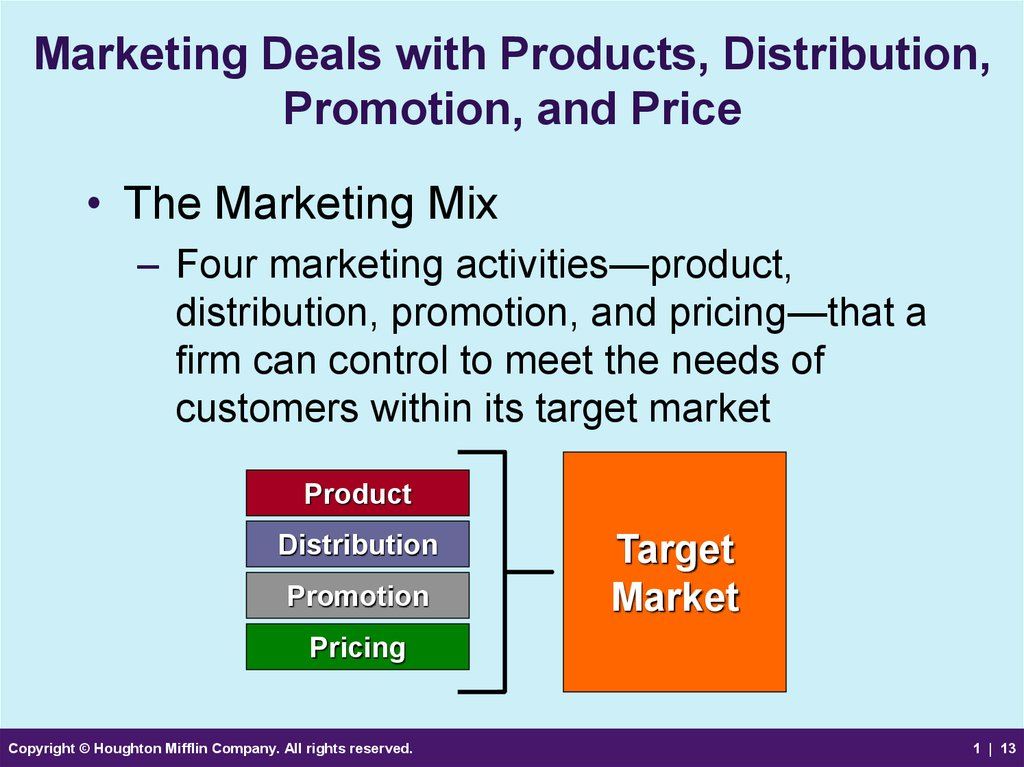 Marketing Deals with Products, Distribution, Promotion, and Price
