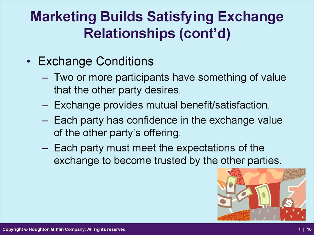 Marketing Builds Satisfying Exchange Relationships (cont'd)