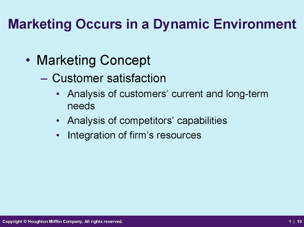 Marketing Occurs in a Dynamic Environment