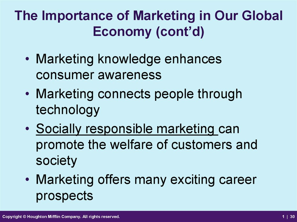 The Importance of Marketing in Our Global Economy (cont'd)