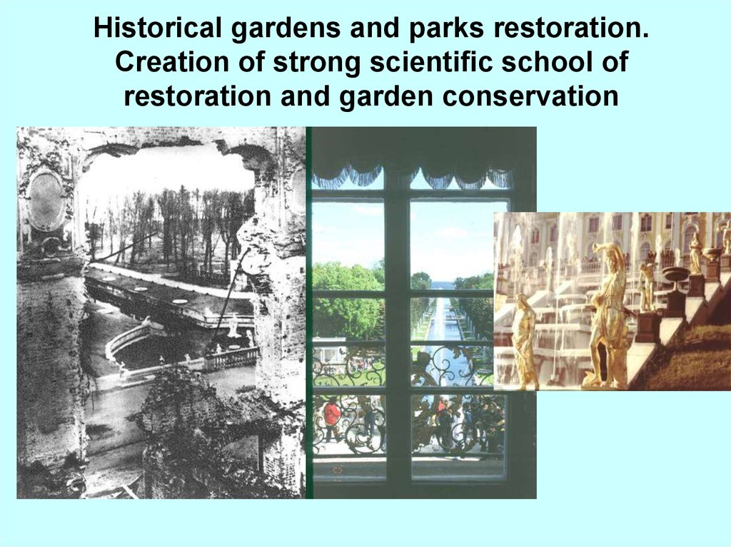 Historical gardens and parks restoration. Creation of strong scientific school of restoration and garden conservation