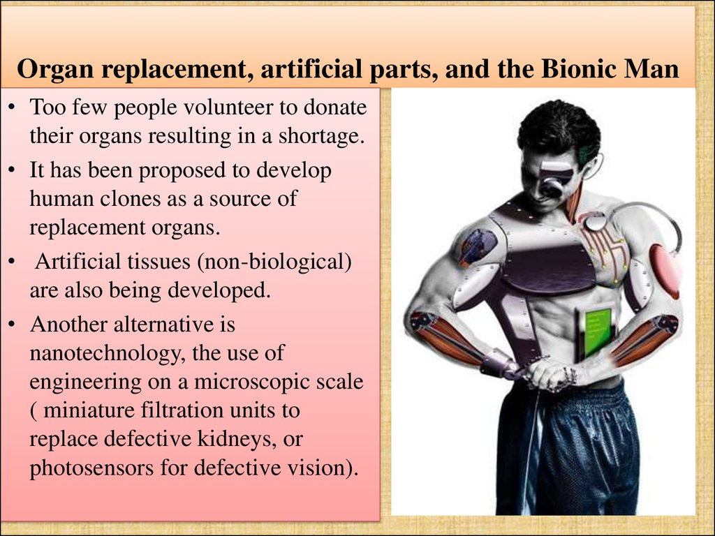 Organ replacement, artificial parts, and the Bionic Man