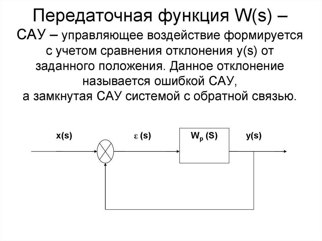 передаточная функция системы по ошибке составили список
