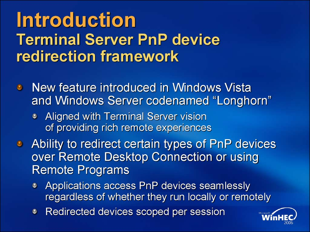 Optimizing device drivers for terminal server\'s plug and play device ...
