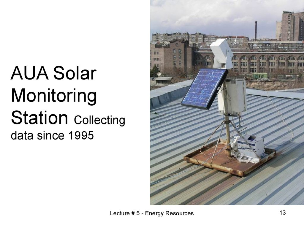 AUA Solar Monitoring Station Collecting data since 1995