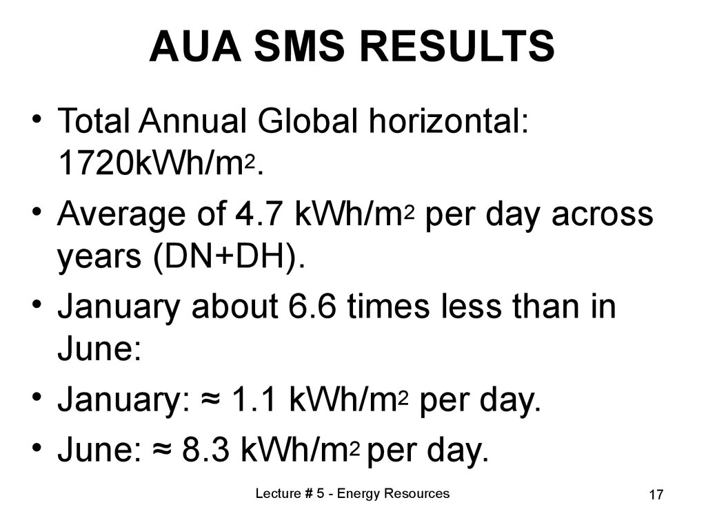 AUA SMS RESULTS