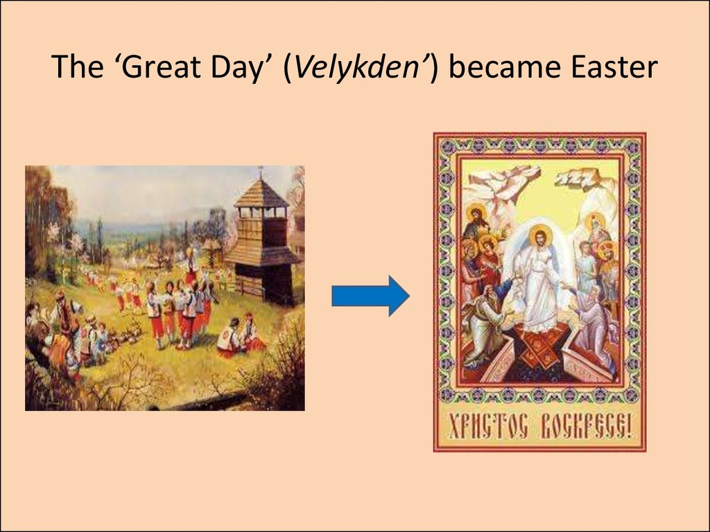 The 'Great Day' (Velykden') became Easter