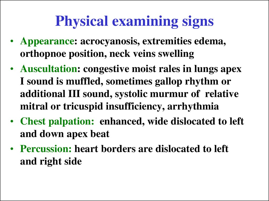 Physical examining signs