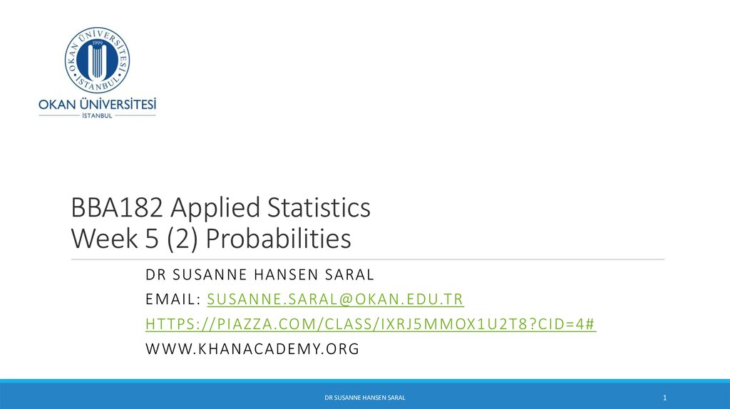 BBA182 Applied Statistics Week 5 (2) Probabilities