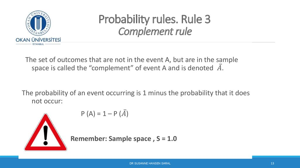 Probability rules. Rule 3 Complement rule