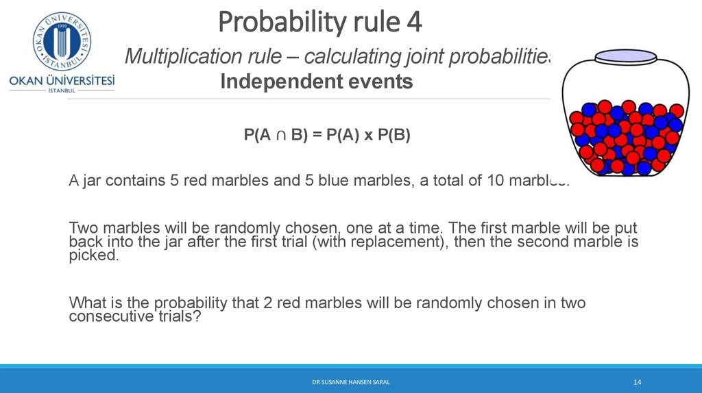 Probability rule 4 Multiplication rule – calculating joint probabilities Independent events