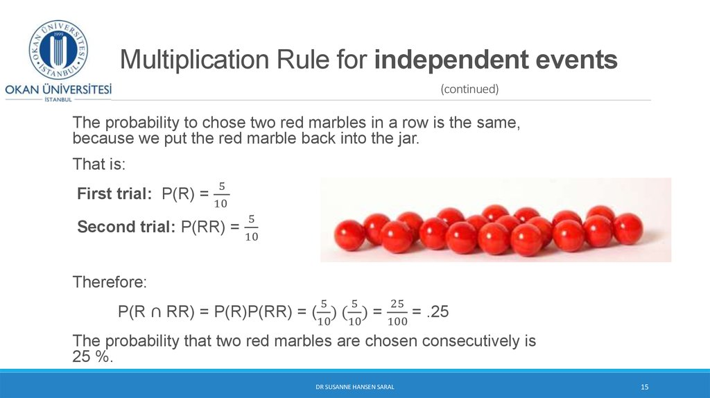 Multiplication Rule for independent events (continued)
