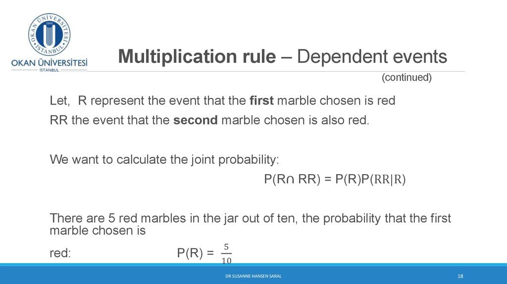 Multiplication rule – Dependent events (continued)